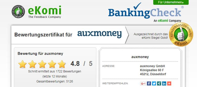 Bei eKomi können Nutzer ihre auxmoney Erfahrungen austauschen.