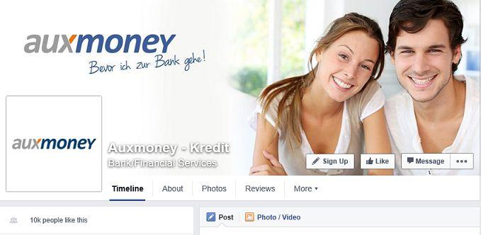 auxmoney Facebook Auftritt